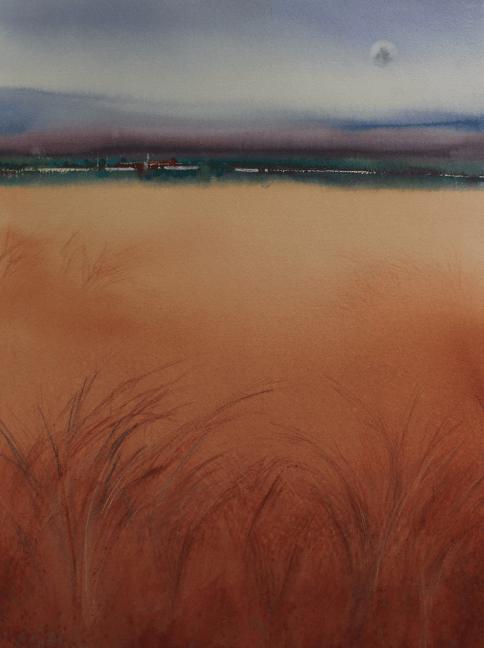 Watercolour landscape painting of field by artist by Jude Scott.