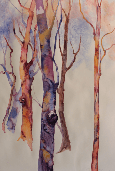 Abstract watercolour painting of five trees by jude scott.