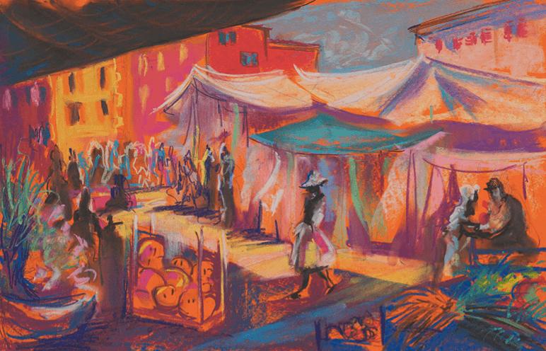 Market place scene landscape in mixed media by artist and tutor Varvara Neiman.