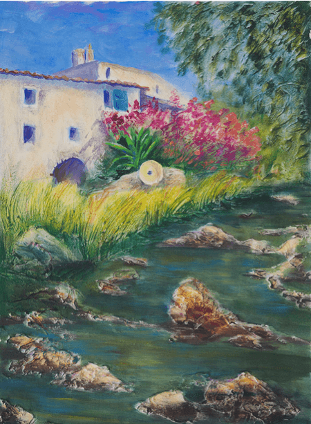 Landscape painting of small white house with stream in foreground and pink flowering plant.