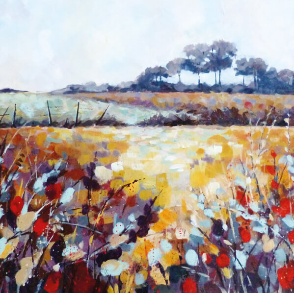 Landscape waterolour painting of a field with red and yellow tones by Elizabeth Baldin.