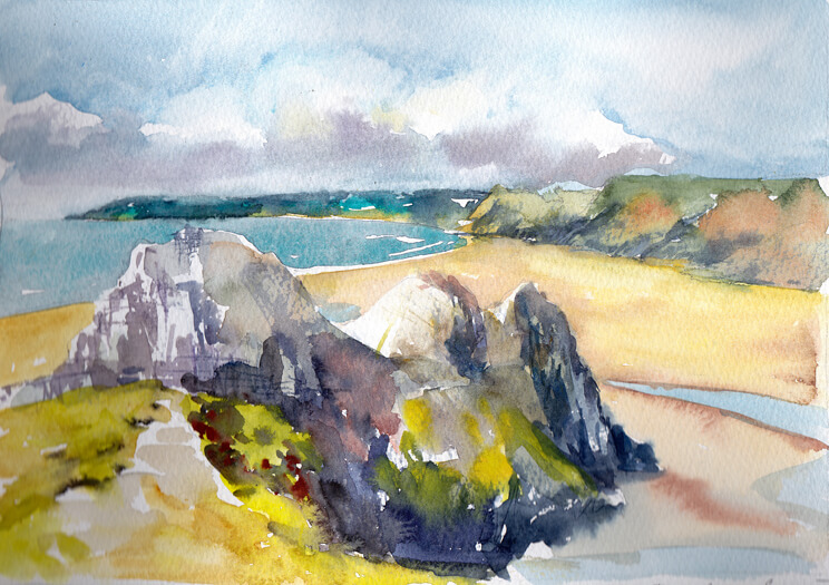 Landcape painting of beach with sea and cliffs by artist Elizabeth Baldin.