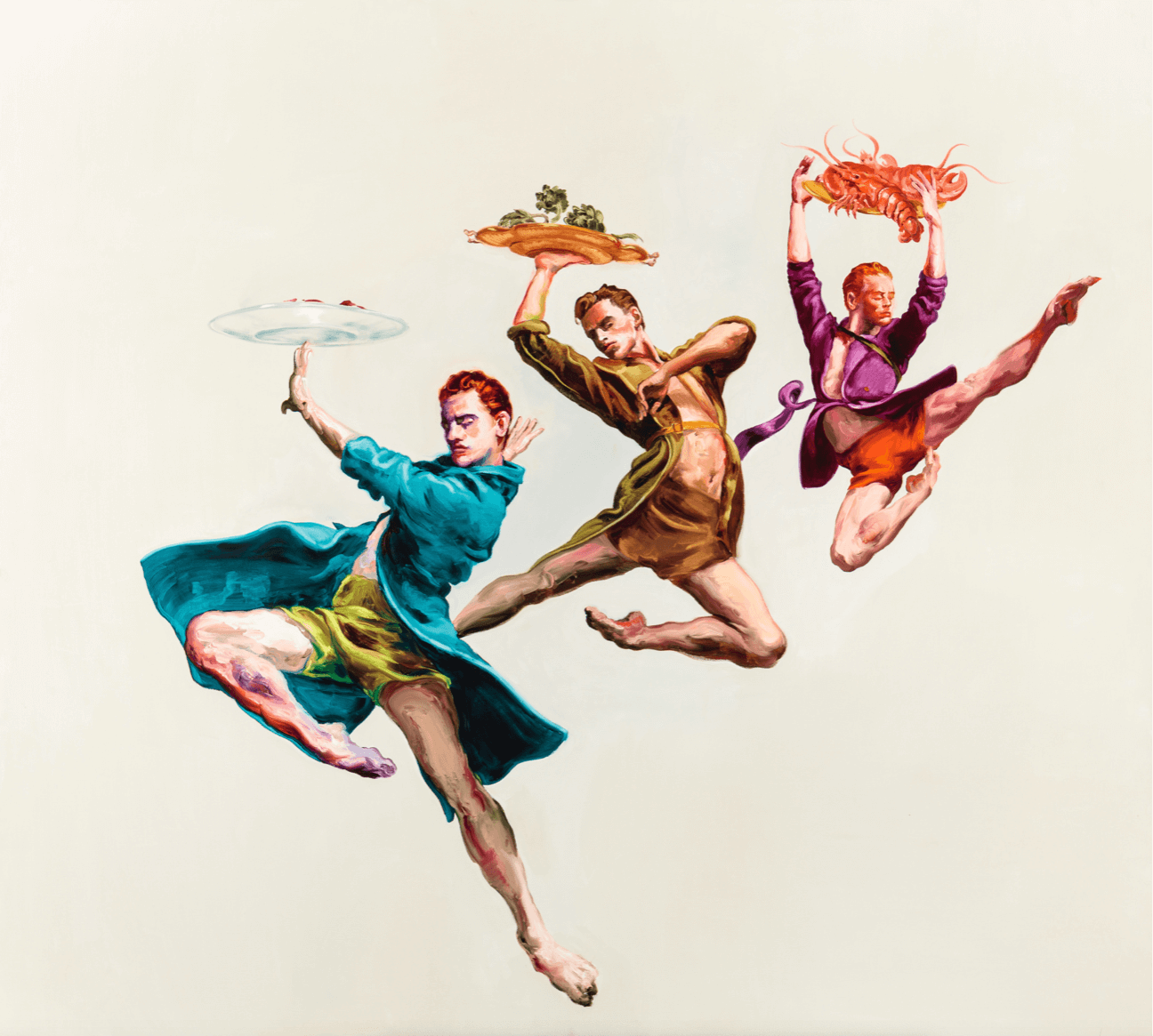 Painting of men ballet dancers holding food trays by international artist Sala Lieber