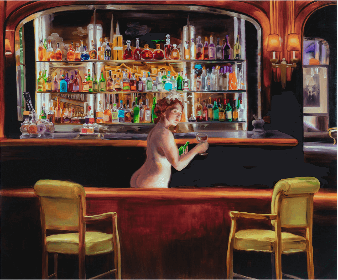 Painting of nude woman behind bar by international artist Sala Lieber