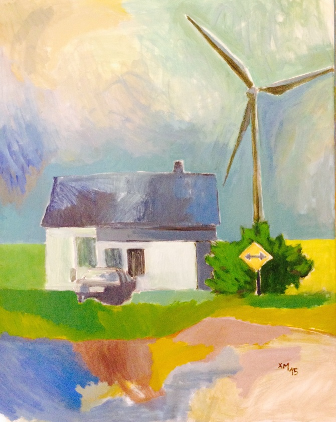 Landcape painting of small white house and wind turbine.