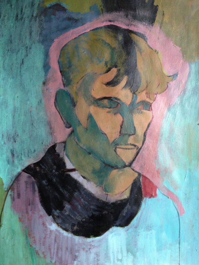 Portrait of a man on blue and pink background by artist and tutor xavier michol.