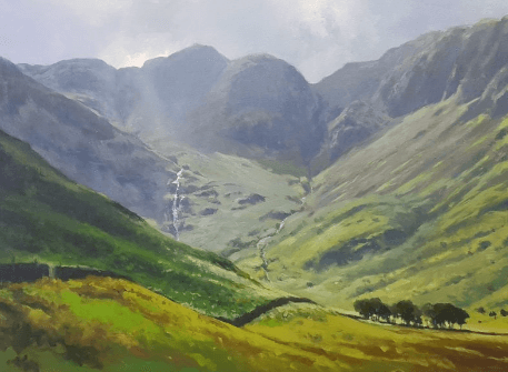 Landscape painting of valley with mountains in background.