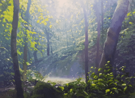 Woods and trees with sunlight showing light and atmosphere by artist and tutor Jenny Aitken.