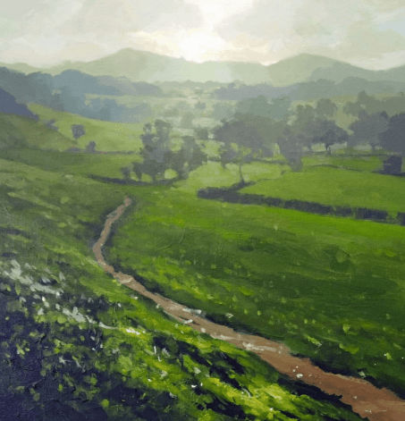 Fields and hillside in green acrylic tones by artist and tutor Jenny Aitken.