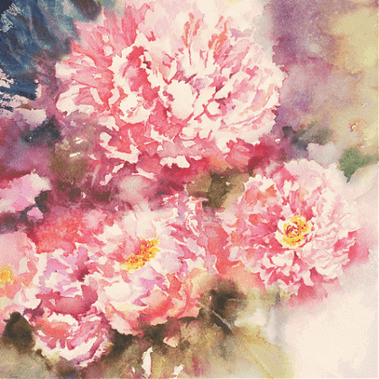 Pink floral watercolour by artist and tutor Jude Scott at Clos Mirabel Painting Holidays France.