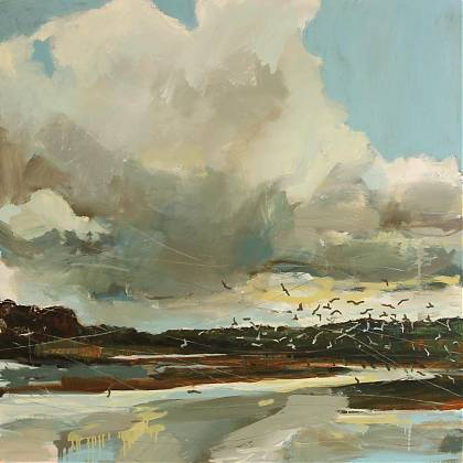 Expressive landscape in mixed media by Sara Dudman tutor Clos Mirabel Atelier France.
