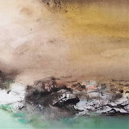 Abstract landscape painting in brown and white tones with a pastel green foreground.