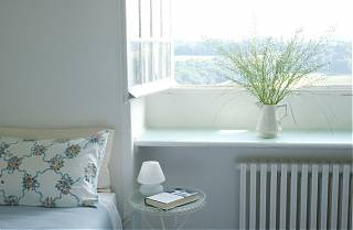 Bedroom with bed and pillow, side table with book and lamp, open window with green flowers in white jug.