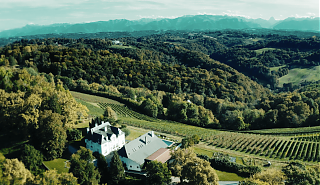 Birds eye view of the Clos Mirabel Estate. Trees, white house, vineyards, mountain range.